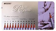 Набор карандашей чернографитных, 12 штук 2Н-8В в металлическом пенале, Marco
