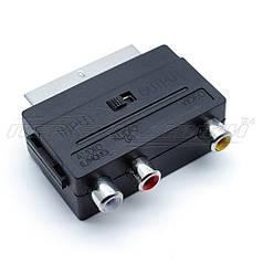 Переходник SCART - 3 RCA гнезда с переключателем