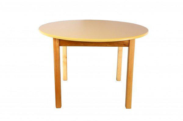 Стол деревянный  цветной ваниль c круглой столешницой 033FP