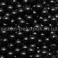 (20 грамм) Жемчуг пластик диаметр 6мм (прим. 190-220шт) Цвет - черный