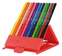 Карандаши цветные, 12 цветов, пластиковая коробка