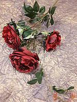 Цветы искусственные для декора Роза кустовая бордо, застаренная