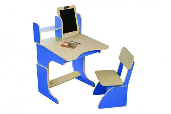 Парта с мольбертом растущая + стульчик, синяя 103FP