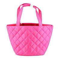 Косметичка большая стеганая розового цвета