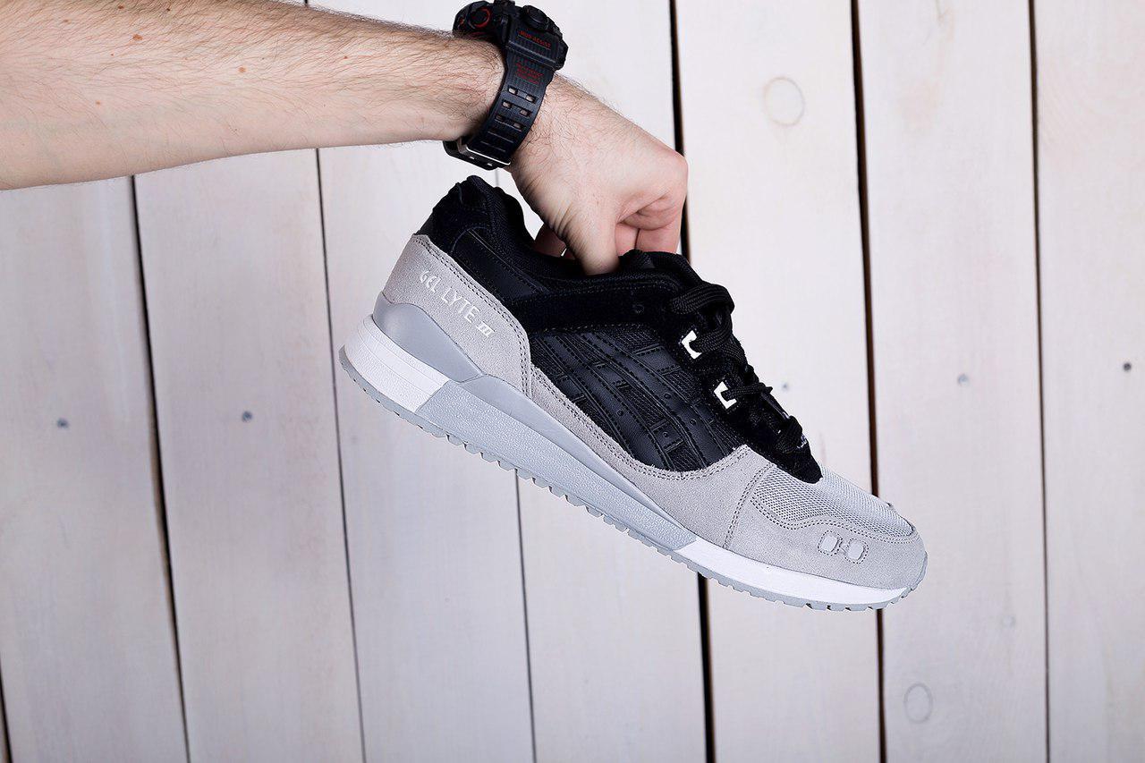 Мужские кроссовки Asics Gel Lyte черно - серые топ реплика