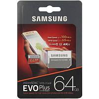 Карта пам'яті Samsung MB-MC64GA/RU EVO Plus microSDXC UHS-I 64GB сlass10 +SD адаптер Червоний