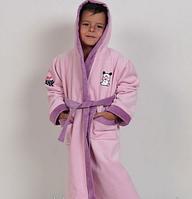 """Детский халат Petek хлопок """"Hello Spank розовый"""" с капюшоном - Турция Halat-d03"""