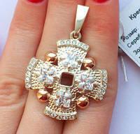 Крест серебряный с золотыми накладками Крест 5 с цирконами