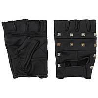 [уценка] Перчатки без пальцев кожаные чёрные, с заклёпками (XL) MFH 15504