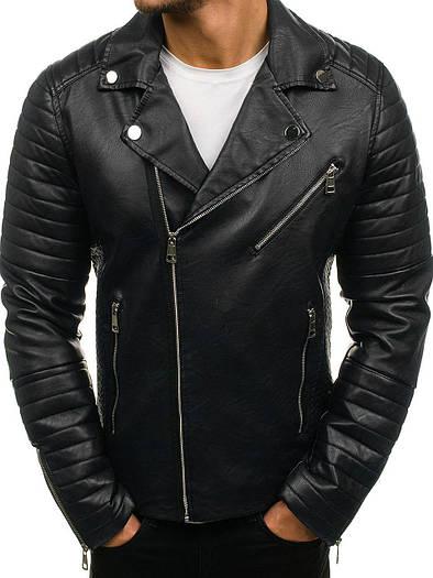 Куртка косуха мужская с косой молнией 3 цвета Черный