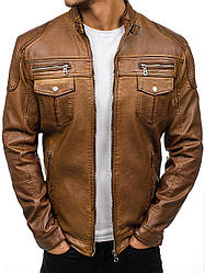 Куртка эко-кожа мужская воротник-стойка в 2 цветах Коричневый
