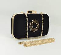 Велюровый клатч Rose Heart 7060-1 черный, сумочка на цепочке