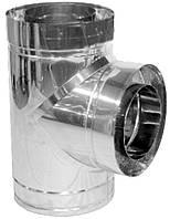 Тройник дымохода двустенный нерж/оцинк Версия Люкс 87° D-450/520 толщина 0,8 мм