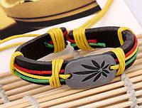 Браслет кожаный «Лист каннабиса» разноцветный