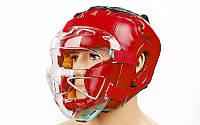Шлем для единоборств с прозрачной маской FLEX ELAST ZB-5209E-R (красный, р-р M-XL)