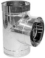 Тройник дымохода двустенный нерж/нерж Версия Люкс 87° D-160/220 толщина 0,8 мм