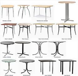 Столи для ресторанів кафе барів (асортимент, підстави, стільниці) знижки