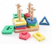Развивающая и обучающая игрушка - Пирамидка - Логический квадрат - малый