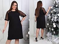 Платье рукав сетка, размеры Норма, Батал. Женское платье длины миди.