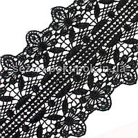 (10 ярдов) Кружево макраме с кордом (матовое), ширина 8,5см Цвет - ЧЕРНЫЙ, фото 1
