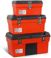 """Ящик оранжевый 19""""железные замки, чёрная крышка"""
