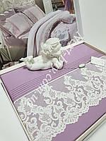 Постельное белье Maison D'or Gloria Murdum 200x220см сатин с кружевом фиолетовый