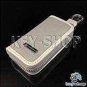 Эксклюзивная карманная ключница (кожаная, серая, на молнии, с карабином, с кольцом)