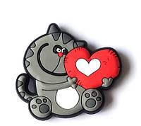 Магнит валентинка котик красное сердце подарок на 14 февраля