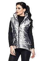 Модные жилетки и безрукавки  женские серебро