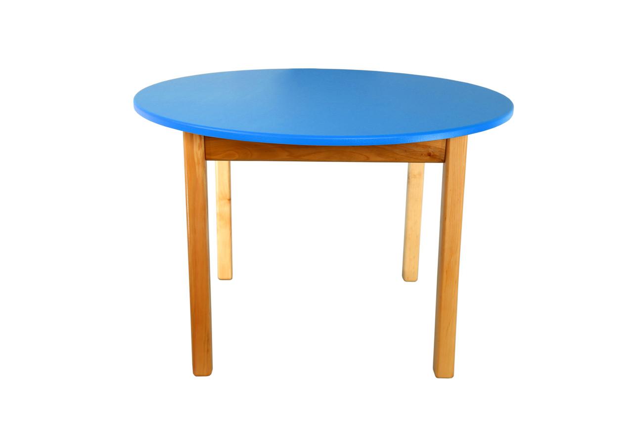 Стол деревянный  цветной синий c круглой столешницой 035FP