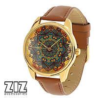 """Часы наручные """"Золотые узоры"""" коричневый золото Z_1414303"""