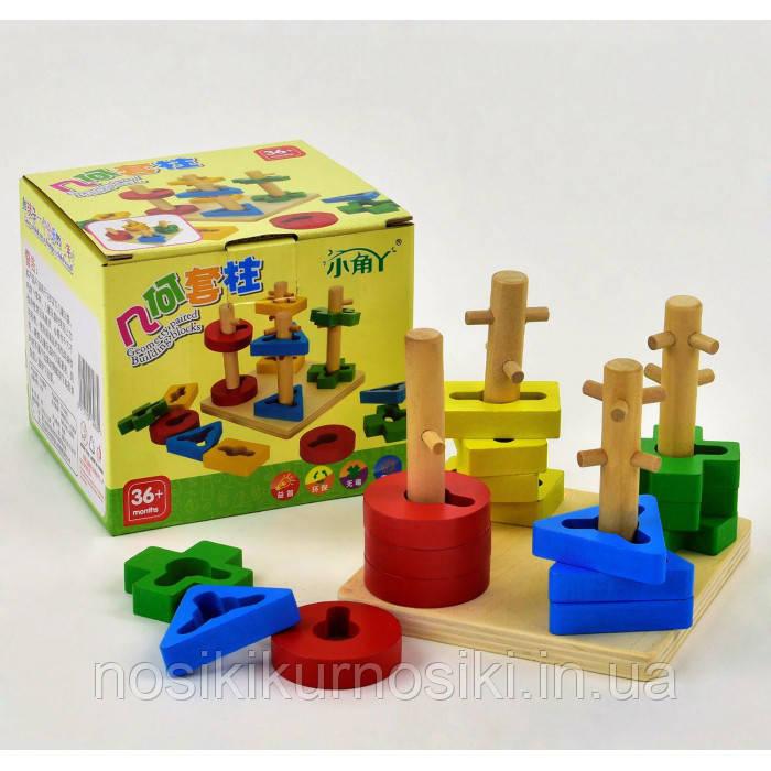 Деревянная игрушка пирамида ключик 4 фигуры