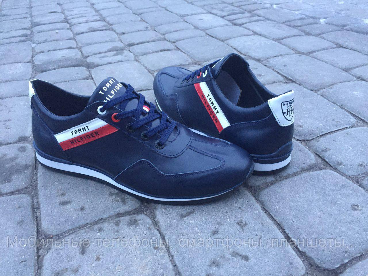 Мужские кожаные кроссовки Tommy Hilfiger синие 40 ab17fcc4d1a27