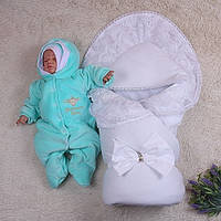 Зимний комплект Волшебство (белый)+Brilliant Baby (махра ментол)