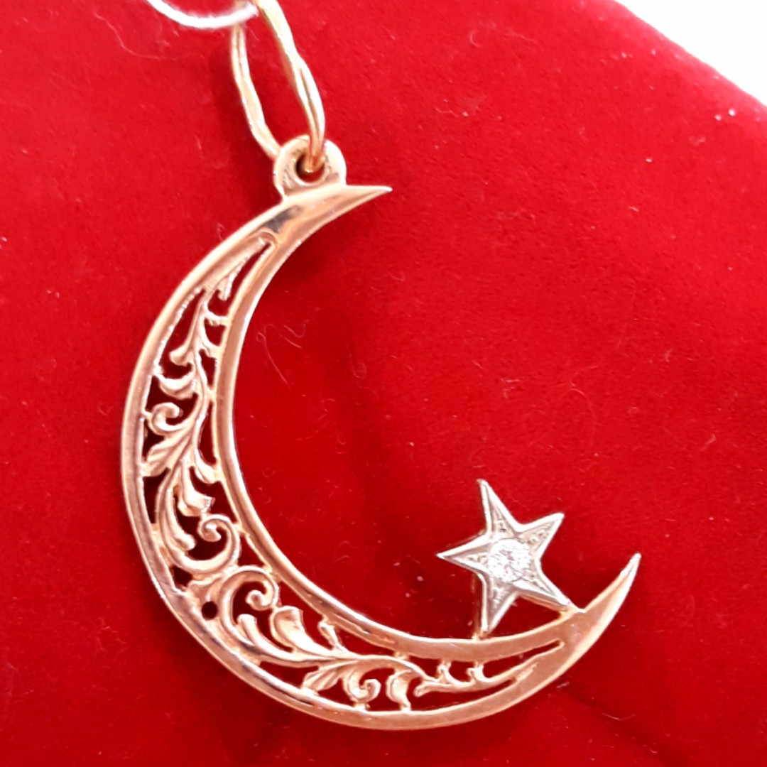 Золотой мусульманский кулон подвеска Полумесяц со звездой