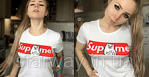 Футболка белая Supreme RipNDip | Борзый кот
