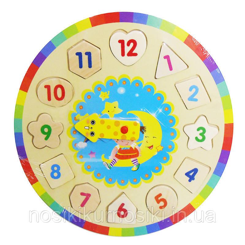 Деревянная игрушка Часы - сортер Девочка