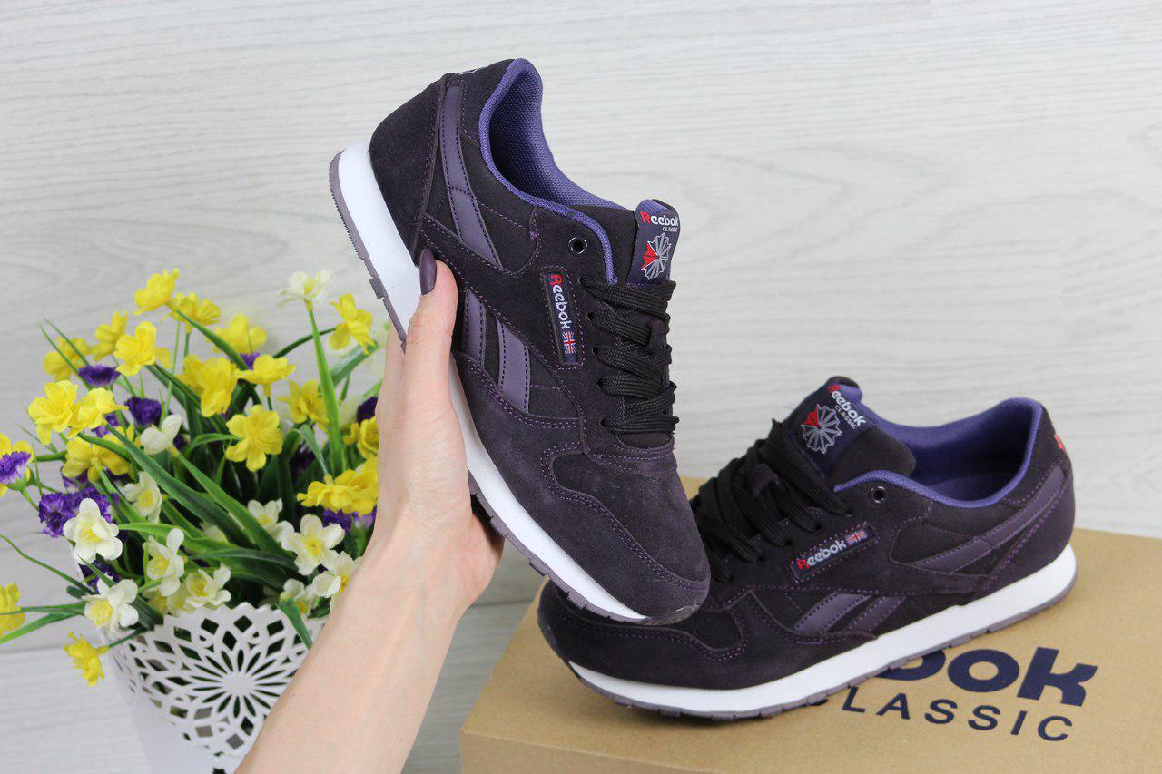 Жіночі кросівки Reebok Classic (фіолетові), ТОП-репліка