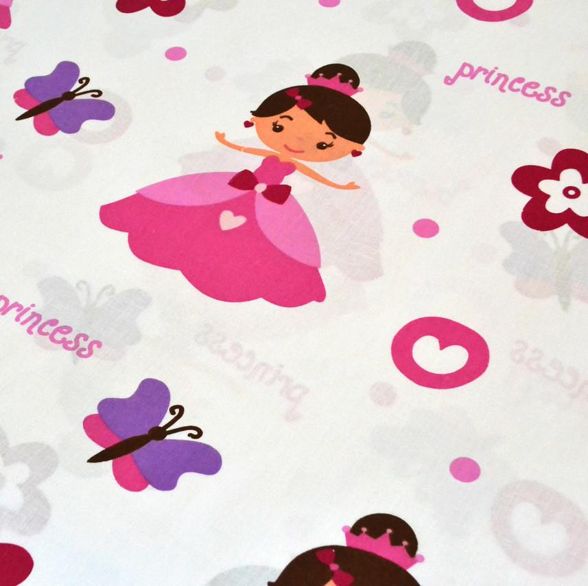 """Хлопок 50х40 см """"Принцессы с бабочками и цветочками"""""""