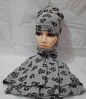 Наборы детские шапка+хомут для девочки подкладка хб р 52-54оптом