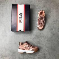 Женские кроссовки в стиле FILA Disruptor Pink Gold Velvet (39, 40 размеры), фото 3