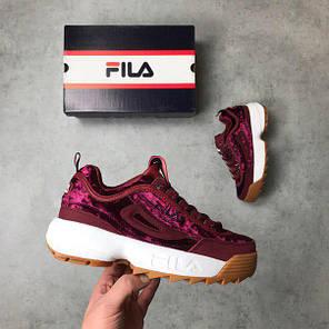 Женские кроссовки в стиле FILA Disruptor Burgundy Velvet (36, 37, 38, 39, 40 размеры), фото 2