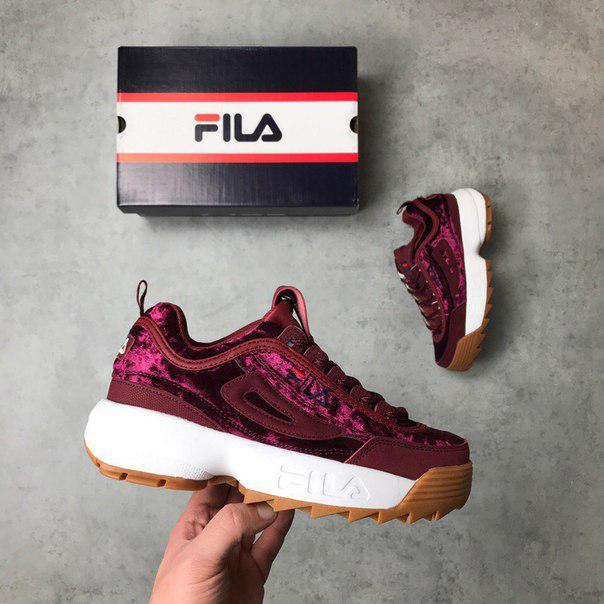 Женские кроссовки в стиле FILA Disruptor Burgundy Velvet (36, 37, 38, 39, 40 размеры)