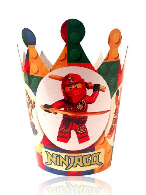 """Корона картонная детская """"Лего Ниндзяго"""", 5 шт/уп"""