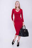 Платье женское модное красное до колена