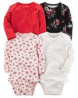 Комплект бодиков с длинным рукавом для девочки Carters цветы и горох, Размер 24м, Размер 24м