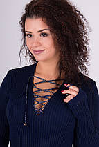 Теплое вязаное платье Риана синий, фото 3