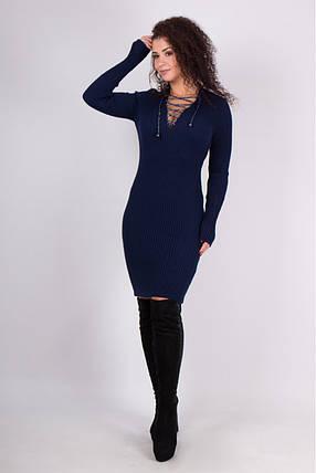 Теплое вязаное платье Риана синий, фото 2