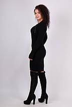 Теплое вязаное платье миди Риана черный, фото 2