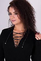 Теплое вязаное платье миди Риана черный, фото 3